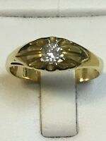 Superb Antique 18 Carat Yellow Gold GENTS GYPSY DIAMOND SET Ring 0.25ct