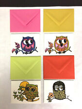VTG Eaton Stationery Set of 4 Note Cards MOD OWLS Colorful Envelopes NOS