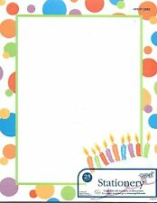 Polka Dot Birthday Cake and Candles Designer Letter Computer Paper - 25 sheets