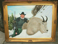 Jim Shockey - Alaskan Mountain Goat - Oil Painting - 30x40 - Gold Leaf Frame