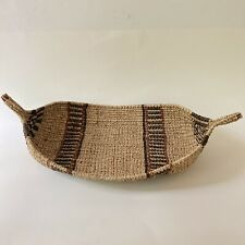 Vintage African Ethiopian Gambela Native Woven Canoe Gathering Bread Basket