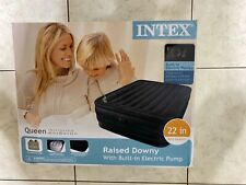 """Intex Queen 22"""" Raised Downy Airbed Mattress with Built-in Electric Pump"""