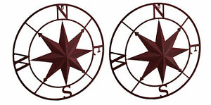 Zeckos 2 Piece Red Distressed Compass Rose Wall Hanging Set
