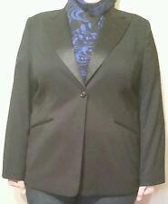 VARIATIONS Gorgeous Lined Black Jacket Sz 22 with Satin Lapels