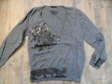 LUISA CERANO schöner Pullover grau mit Golddruck Gr. 42 TOP KoS917
