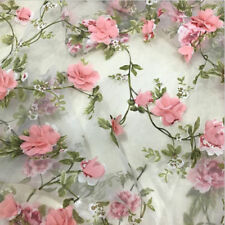 1yard 3D Chiffon Rose Flower Ivory Organza Lace Fabric 51'' Width Hand Embroider