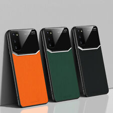For Samsung Note 10 Plus 9 S20 Ultra S10 Plus S9 Glass Leather Hybrid Case Cover
