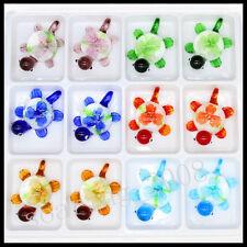 12 Pcs Lovely tortois Crystal Murano art glass beaded leather pendant necklace