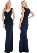 Goddess Long Navy Gathered Drape Bow Sleeveless Evening Prom Party Maxi Dress