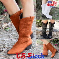 Women Embroidered Cowboy Pointed Toe Mid Calf Boots Knee High Pull On Shoes US