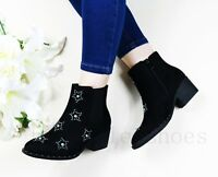 LADIES WOMENs CHELSEA ANKLE BOOTS STUD BOOTS LOW MID HIGH BLOCK HEEL SHOES SIZE