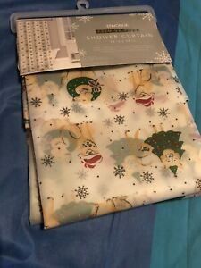 Envogue Dogs Snowflakes Shower Curtain Snowfall Christmas Holiday New