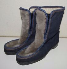 FUNKY Sz 8 Vintage Handmade YODELERS Boho Blue Suede Zip Up Boots Gray Faux Fur