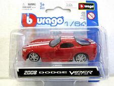 BURAGO Diecast car 2008 DODGE VIPER SRT-10 NEW on card