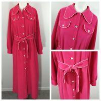 Vintage 70s Vassarette Robe Size 16 Pink Button Up Front Tie Waist Crochet PJs