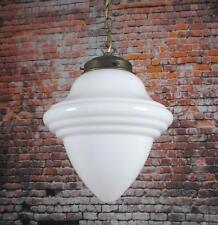 Hängelampe XL Weiß Jugendstil Opal-Glas Tropfen Lampe Antik Messing Pendellampe