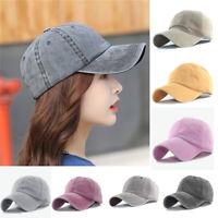 Unisex Plain Baseball Cap Cotton Washed Style Sports Adjustable Blank Solid Hat