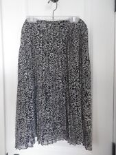 Jones New York Collection Womens Pleated Below Knee Career Blk,White Skirt SZ 12