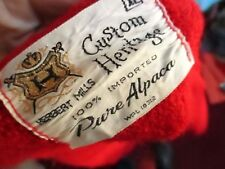 XL True Vtg 70s CHERRY RED CARDIGAN 100% APLACA WOOL HERBERT MILLS SWEATER