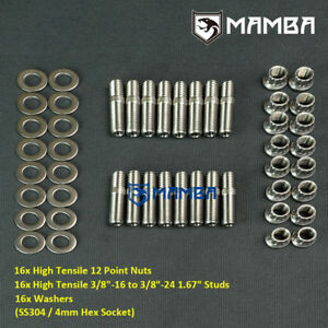 """MAMBA SS304 Header Stud Kit 3/8"""" 1.67"""" Chrysler KB Hemi blower bracket Mopar 340"""