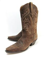 New Resistol-Lucches Ranch Women's  Olive Brown Roughout Leather Boots, Size 10B
