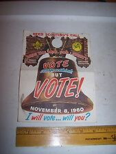 1960 BOY SCOUT Door Hanger Flyer Urging People to VOTE Liberty Bell