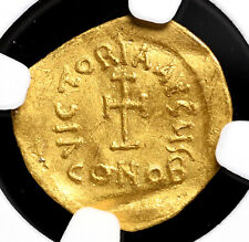 Heraclius. 610-641, Gold Tremissis, Cross. NGC XF