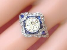 Art Deco 1ct Euro Diamond Sapphire Platinum Cocktail Engagement Right-Hand Ring