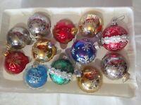 12 VTG Xmas Ornament Mica Glass Round Ball Shape 1960s MCM w Glitter