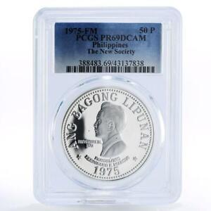 Philippines 50 piso Ferdinand E. Marcos PR69 PCGS silver coin 1975