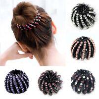 Rhinestone Double Hair Clip Flexible Hairpin Women's Hair Dovetail Clips Wedding