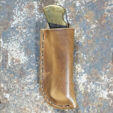 CLW- TAN LEATHER   RIGHT HANDED   BELT SHEATH FOR BUCK 110 FOLDING POCKET KNIVES