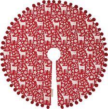 "Christmas Medium Tree Skirt 24"" - Scandinavian Reindeer & Snowflake w/ Pom Trim"