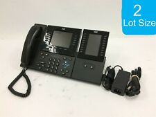 Lot of 2 Cisco CP-8961 IP Phones W/ Handset Stand & Expansion Module