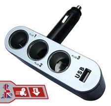 12V/24V Wireless Triple Socket & USB Plug Car Cigarette Lighter Charger Adapter