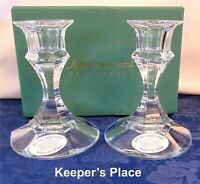 Vintage THE AMERICAN CRYSTAL COLLECTION 24% Lead Clear Candlestick Holders New
