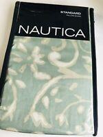 2 NAUTICA Aqua green LAMBERTS COVE PILLOW SHAM Standard COTTON taupe white NEW