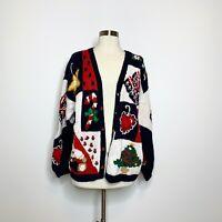 Alexandra Bartlett Knit Christmas Sweater Cardigan Women Large Navy Red White