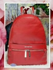 Michael Kors Kenly Large Backpack Leather Scarlet With Wallet
