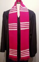 Pink White Graduation Stole, Authentic African Kente made in Ghana