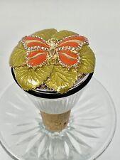St. John Home Wine Bottle Stopper Enameled Butterfly crystals & Pearl New