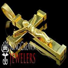 New Mens Crucifix Cross Pendant Real Authentic 316L Yellow Stainless Steel Charm