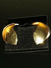VTG MODERNIST 14K SOLID FINE YELLOW GOLD MATT/SHINY LARGE STUD EARRINGS