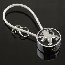 Car Logo Keychain Key Ring Metal Double Sided Steel Wire Rope For Peugeot