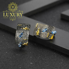 Natural Blue Topaz Handmade Sterling Silver Statement Clip Earrings for Women