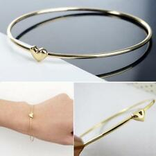 Dainty Heart Bangle Bracelet Thin Love Stackable 14k Yellow Gold Dipped NEW