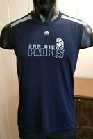 Majestic San Diego Padres MLB Baseball Athletic Sleeveless Shirt Blue Fitted MD