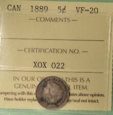 1889 Canada Silver  5 Cent - ICCS VF-20  -  Serial # X0X 022