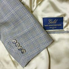 Hart Schaffner Marx GOLD RECENT Glen Plaid Wool Sport Coat Jacket Blazer Sz 44R