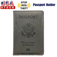 PU Leather Passport Cover Protector ID Name Card Case Travel Wallet Gray US